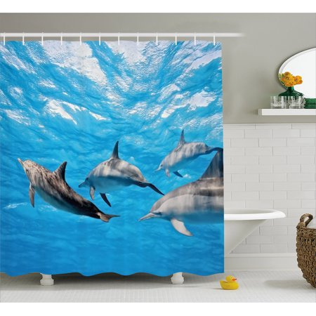 Dolphin Shower Curtain, Underwater Photography of Dolphins Happily Swimming Ocean Animal Life Image Print, Fabric Bathroom Set with Hooks, 69W X 84L Inches Extra Long, Blue Grey, by Ambesonne
