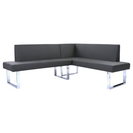 Armen Living Amanda Contemporary Nook Corner Dining Bench in Gray Faux Leather and Chrome Finish