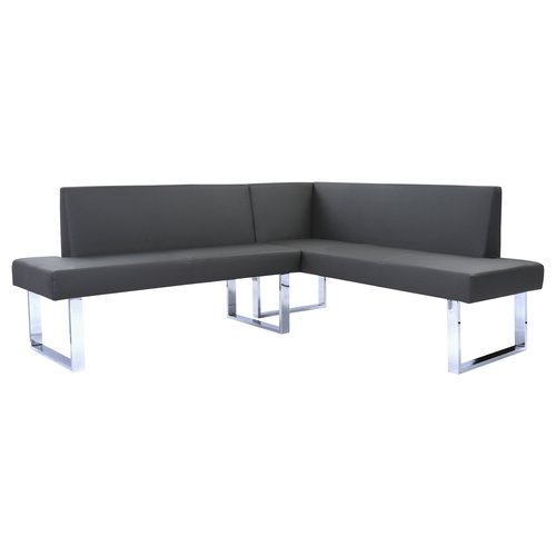 Superbe Armen Living Amanda Contemporary Nook Corner Dining Bench In Gray Faux  Leather And Chrome Finish