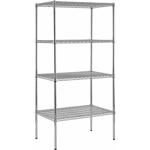 "Heavy Duty Steel Adjustable Wire Shelving, 800 lb Capacity, 36""W x 86""H x 24""D, 4 Shelves, Chrome"