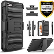 Iphone 6S Case, Iphone 6 Case, Dual Layers [Combo Holster] Case And Built-In Kickstand Bundled with [Premium Screen Protector] Hybird Shockproof And Circlemalls Stylus Pen (Black)