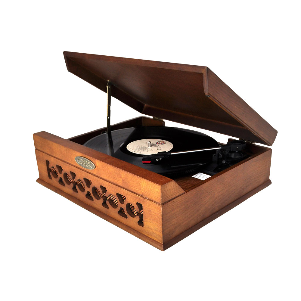 Vintage Style Phonograph/Turntable w/USB-To-PC Connection (Dark Maple)