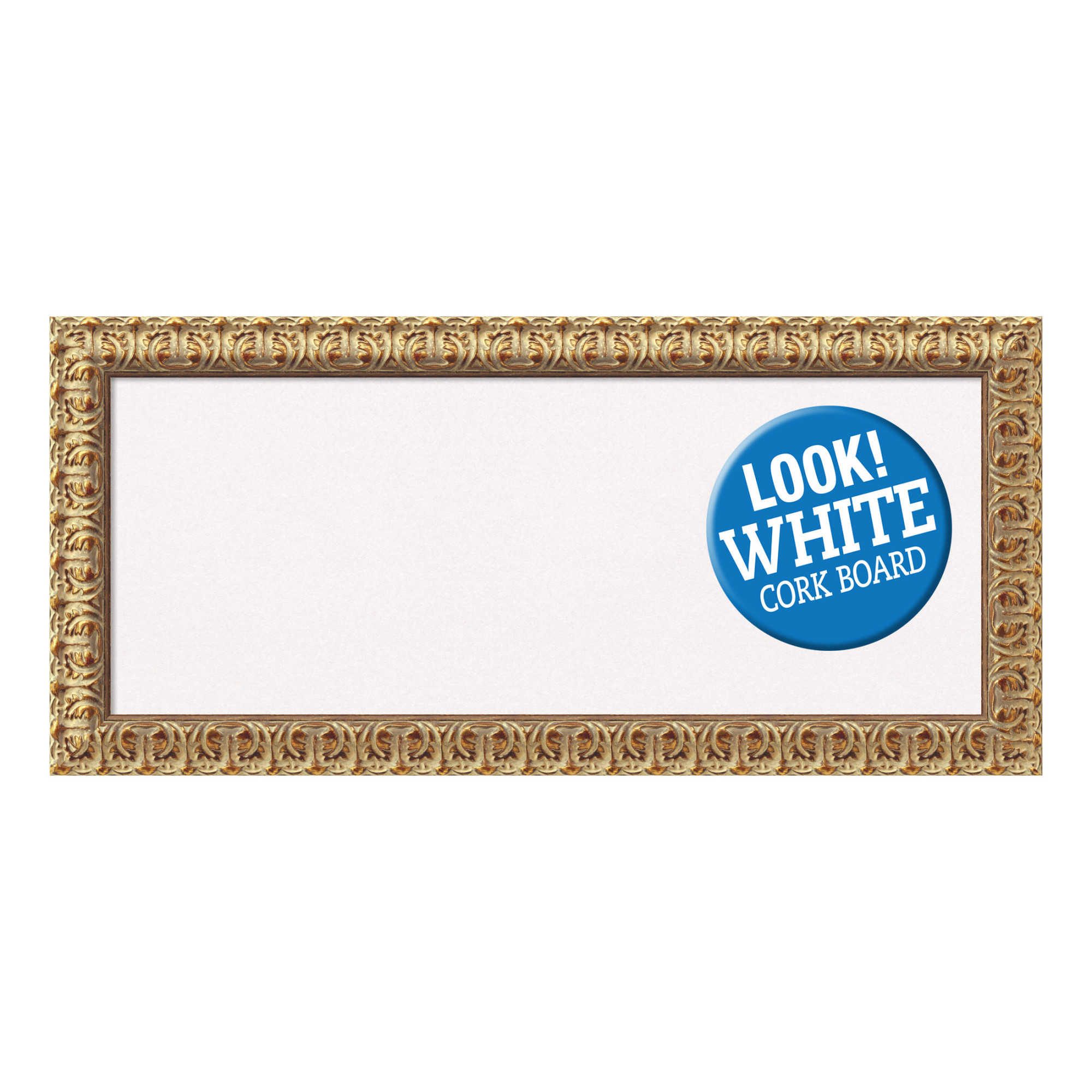 Amanti Art Framed White Cork Board, Florentine Gold