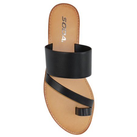 Joan Black Soda Flip Flops Shoes Women Basic Sandals Flat Summer Thongs Toe Ring Close Back Thong Sandal