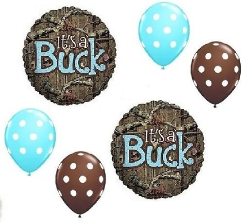 MOSSY OAK It's a Buck Blue BOY Baby Shower Camouflage 6 Mylar & Latex Balloons, By LoonBalloon