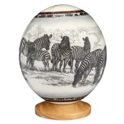 Premium Decorated Ostrich Egg with Wooden Display Stand - Decorative Painted Large Ornamental Eggshell