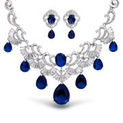 Art Deco Style Blue AAA CZ Teardrop Baguette Simulated Sapphire Statement Collar Earring Set For Women Silver Plated