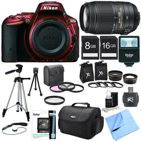 Nikon D5500 Red Digital SLR Camera, 55-300 Lens, Lens Set, and Flash Bundle