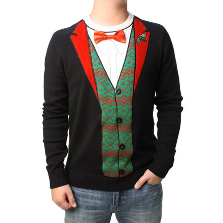 Ugly Christmas Sweater Men's 3D Bow Tie Felt Embossed Tuxedo Pullover Sweatshirt