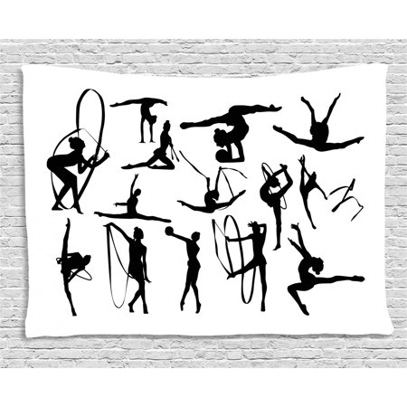 Theme For Olympics (Gymnastics Tapestry, Olympic Athlete Silhouettes Aerobics Themed Monochrome Ribbon Dancing Women, Wall Hanging for Bedroom Living Room Dorm Decor, 60W X 40L Inches, Black White, by)