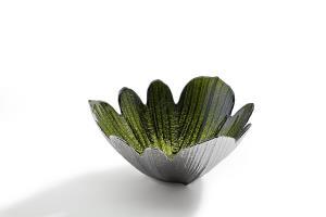 2-Tone Green & Silver Petal Flower Leaf Decorative Bowl Dish Modern Art Piece Décor by Studio Silversmiths