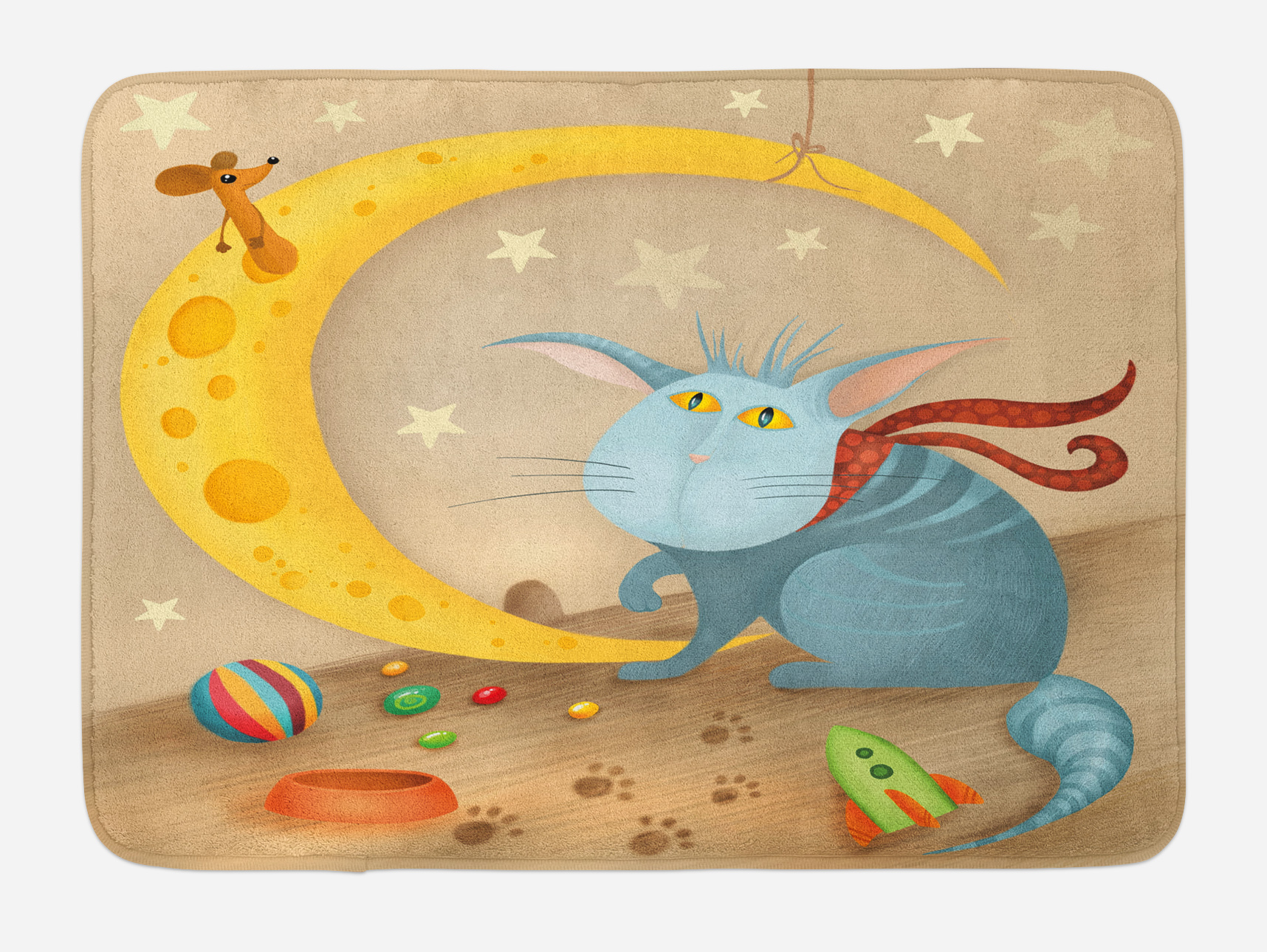Kids Bath Mat, Cat and Mouse on Crescent Moon Shaped Cheese Cute Paws Toys Kids Children... by 3decor llc