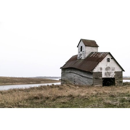 Illinois Farm (Dilapidated Old Barn, Lincoln, Illinois, USA. Route 66 Farmhouse Architecture Country Landscape Print Wall Art By Julien McRoberts)