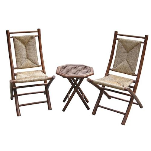 Heather Ann 3-piece Woven and Bamboo Bistro Set Brown Frame