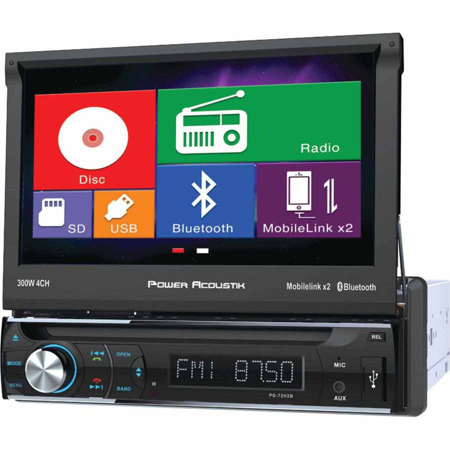 """Power Acoustik PD-72H2B 7"""" Single-DIN In-Dash Motorized LCD Touchscreen DVD Receiver with Bluetooth and MHL MobileLink X2"""