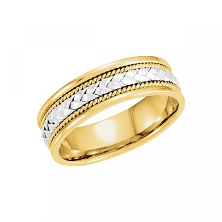 - 14kt White & Yellow 6.75mm Hand-Woven Band Size 10 50636 / 14Kt White/Yellow / 10.00 / 06.75 Mm / Hand Woven Band