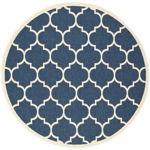 Safavieh  Courtyard Moroccan Pattern Navy/ Beige Indoor/ Outdoor Rug (6'7 Round)