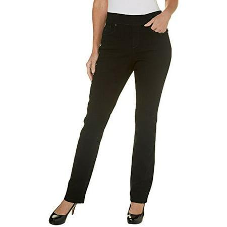 93a0a886549 Gloria Vanderbilt - Gloria Vanderbilt Avery Pull-On Straight Leg Jeans  Black Rinse 16 - Walmart.com