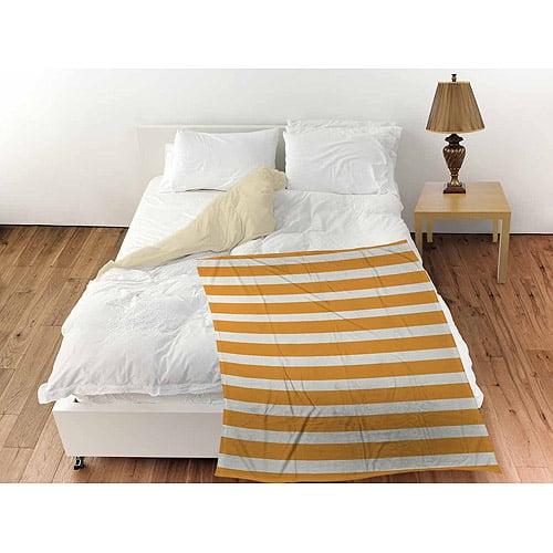 """Thumbprintz Bright Stripes Orange Coral Fleece Throw, 30"""" x 40"""""""