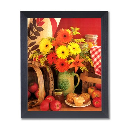 Apples Spices and Flowers Country Kitchen Wall Picture Black Framed Art Print (Apples Framed Print)