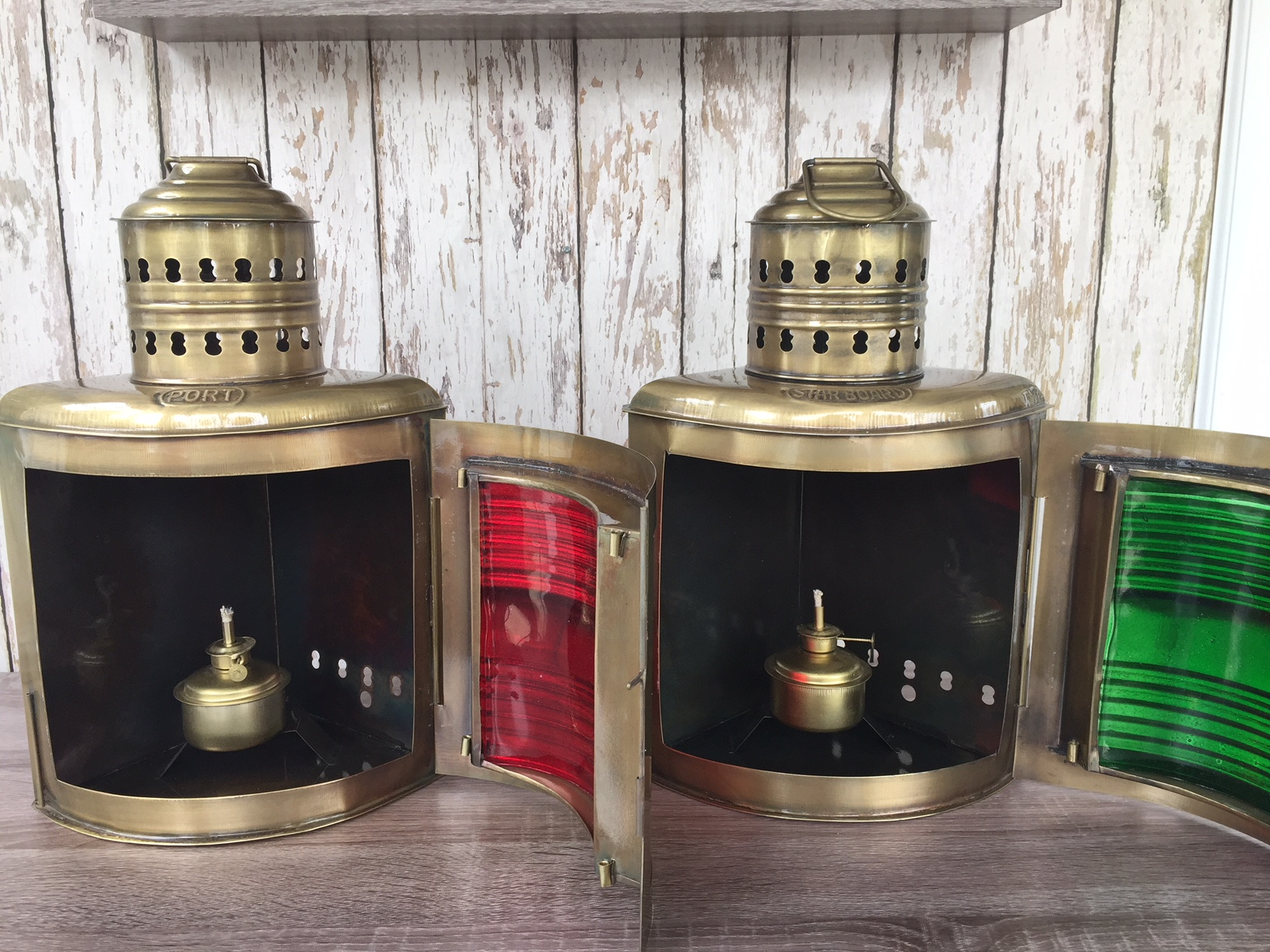 Antique Brass Finish Port /& Starboard Lanterns Nautical Oil Lamps Ship Light