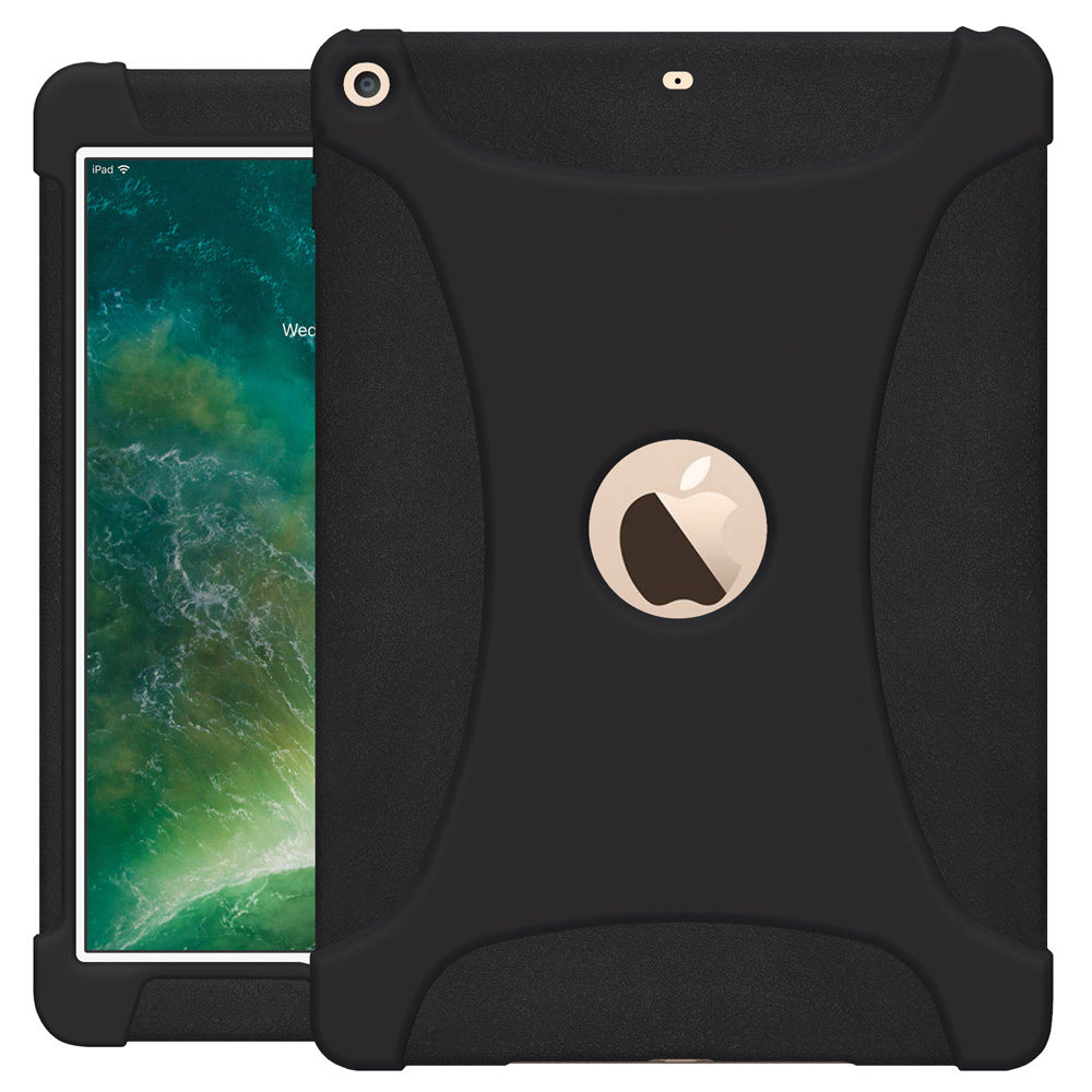 The new 9.7 iPad Case, Slim Light Weight ShockProof Rugged Silicone Protective Cover for iPad 9.7 2018 6th Gen - Black, Anti Slip, Kids Friendly