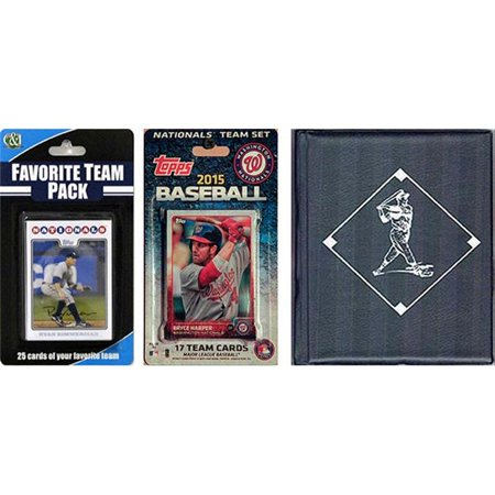 C&I Collectables MLB Washington Nationals Licensed 2015 Topps Team Set and Favorite Player Trading Cards Plus Storage Album ()