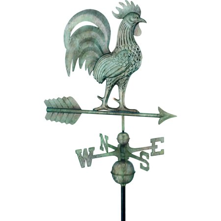 "Good Directions Proud Rooster Weathervane, Blue Verde Copper - 26""L"