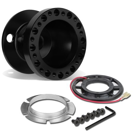 Aluminum Steering Wheel 6 -Hole Hub Adaptor Kit (Black) - For 1988 to 2004 Mitsubishi Eclipse / Lancer / Pickup 99 00 01 02 03