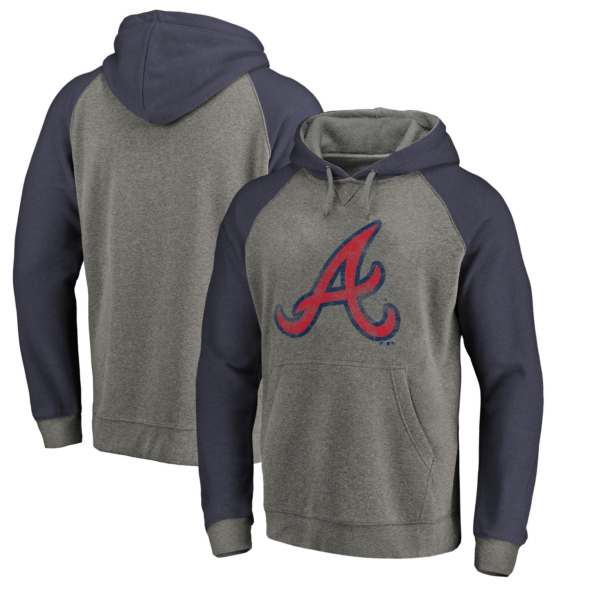 Atlanta Braves Fanatics Branded Distressed Team Logo Tri-Blend Raglan Pullover Hoodie - Gray/Navy