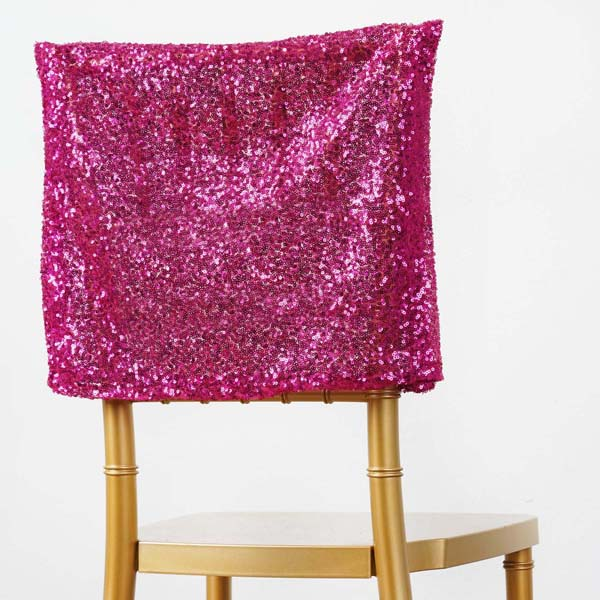 Efavormart 50PCS Shinny Sequin Chair Cap Slipcover Chivari Square Top ChairCap Event Decor For Hotel Dining Wedding Party Catering