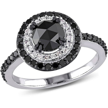 1 1 2 Carat T W  Round Cut Black And White Diamond 10Kt White Gold Halo Engagement Ring