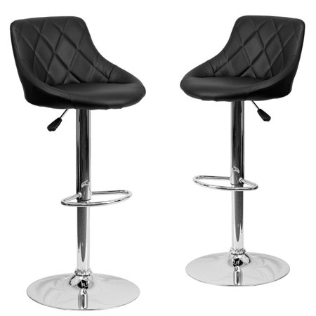 Belleze Set of (2) Black Faux Leather Bucket Style Seat Adjustable Barstool Chrome Base