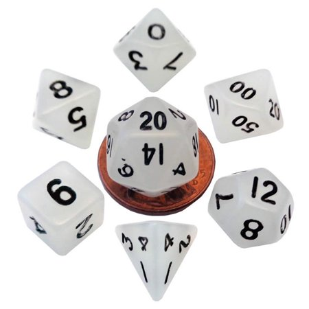 Clear Glow In The Dark Dice with Black Numbers 10mm (3/8in) 7-Dice Set Metallic Dice - Glow In The Dark Games For Kids