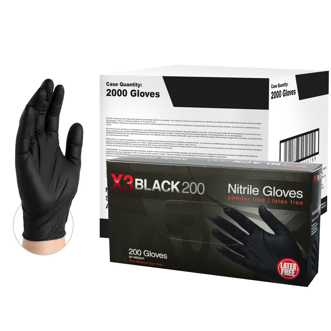AMMEX BX3 Nitrile Latex-Free Industrial Gloves, Small, Black, 2000/Case