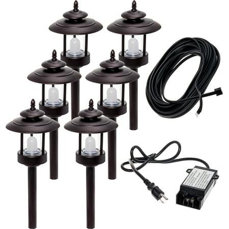6 Pack Westinghouse Bronze 100 Lumen Low Voltage LED Pathway Light Landscape Kit (Landscape 1 Kit)