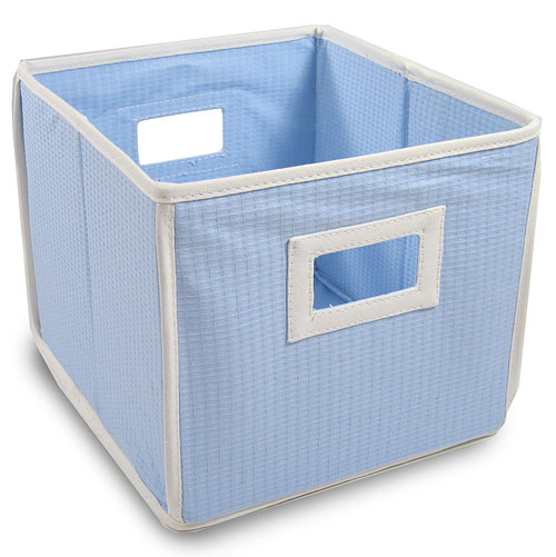 Badger Basket - Waffle Fabric Folding Bin, Blue