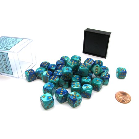 Gemini 12mm D6 Chessex Dice Block (36 Die) - Blue-Teal with Gold Pips