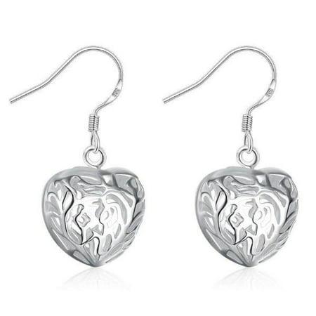 Fancy Puffed Heart - ON SALE - Cut Out Fancy Puffed Heart Earrings Silver