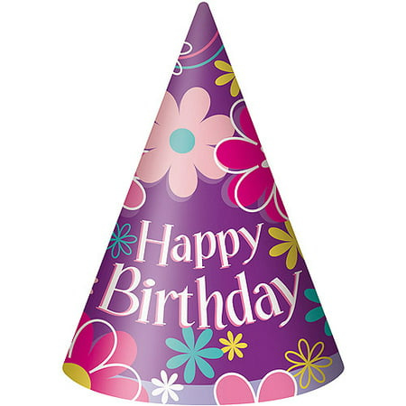 Blossom Birthday Party Hats, 8-Count - Plain Birthday Hats