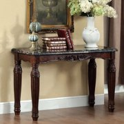 Furniture of America  Laun Traditional Espresso Faux Marble Sofa Table