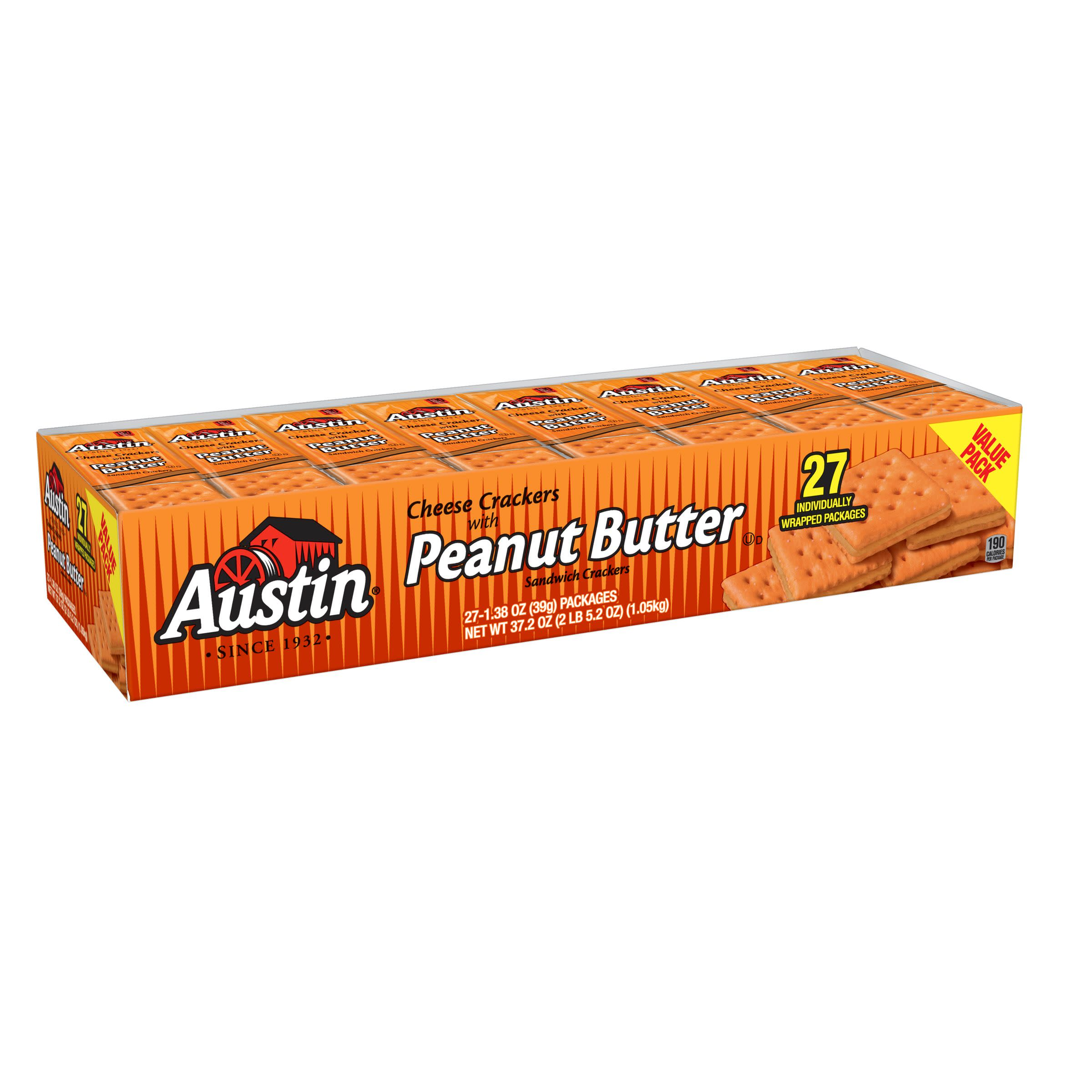 Austin Sandwich Crackers Cheese Crackers with Peanut Butter Value Pack 37.2 oz 27 Ct