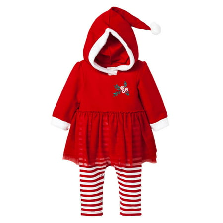 Infant Girls Red & Whtie Striped Mrs Santa Claus Holiday Tutu Baby Outfit](Mrs Incredible Outfit)
