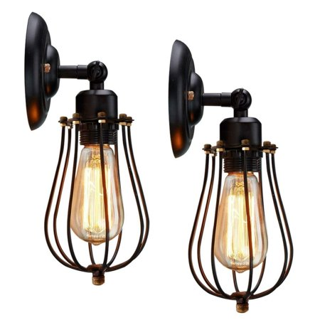Moaere Wire Cage Wall Sconce LED Dimmable Metal Industrial Wall Light Shade Vintage Style Edison Mini Antique Fixture