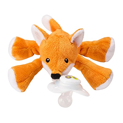 Nookums Paci-Plushies Shakies Fox Pacifier Holder and Rattle (2 in 1 ) by Nookums