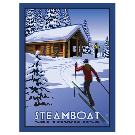 Classic Cross Country Ski - Steamboat Ski Town USA Cross Country Skiers & Cabin Travel Art Print Poster by Paul Leighton (9