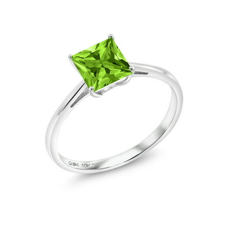 1.03 Ct Princess Green Peridot 10K White Gold Ring 10k White Gold Green