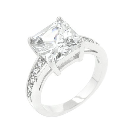Classic Princess Cut Raised Pave Engagement Ring Size 5