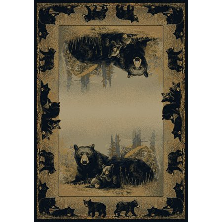 United Weavers Hautman Area Rugs - 132-47417 Southwestern Lodge Natural Border Bears Forest Animal Rug