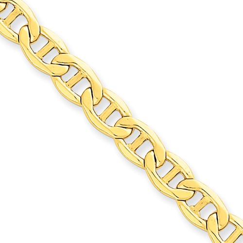 14k Yellow Gold 8in 5.85mm Solid Lightweight Anchor Chain Bracelet